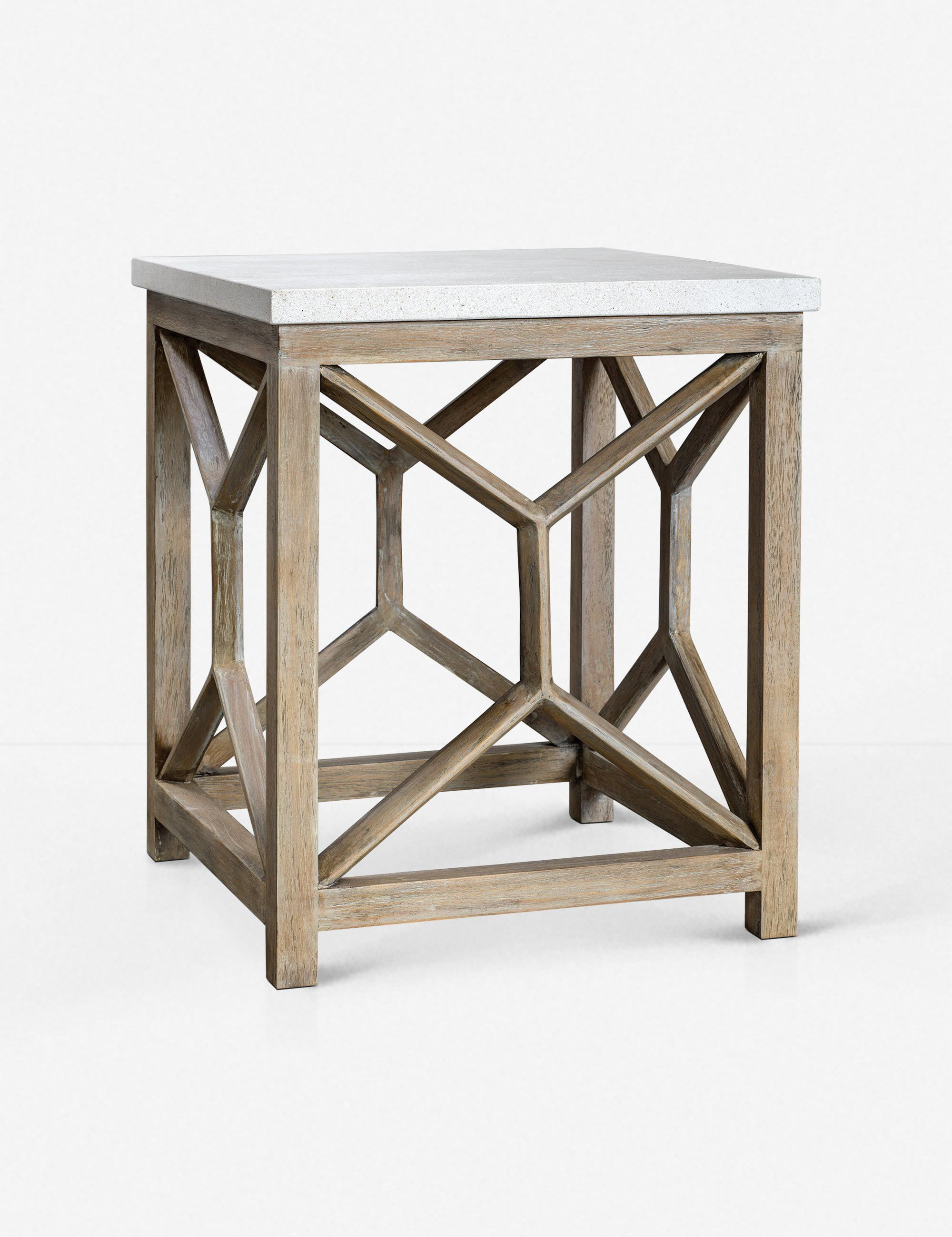 Lulu Georgia Lacey End Table Ivory Machine Made Rugs End