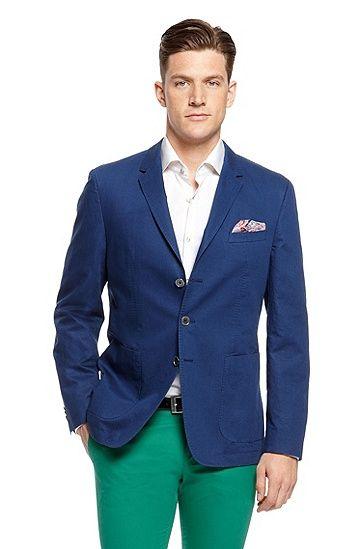 Matteo' | Slim Fit, Cotton-Linen Sport Coat, Medium Blue | wedding ...