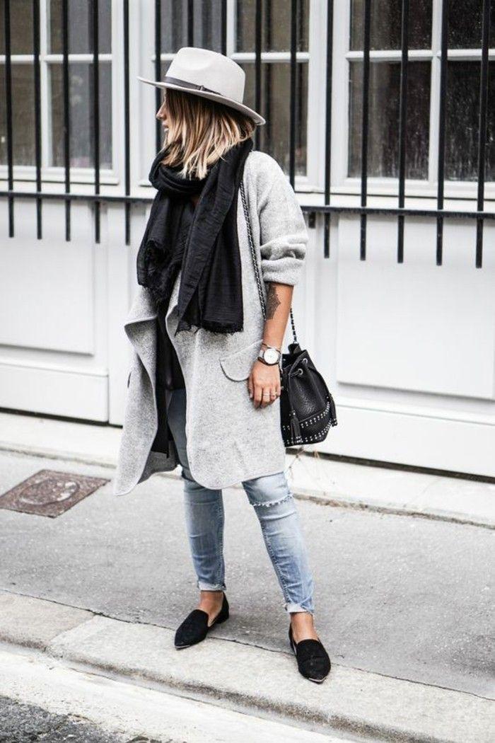 womit l sst sich ein grauer mantel kombinieren fashion pinterest mode mantel und outfit. Black Bedroom Furniture Sets. Home Design Ideas