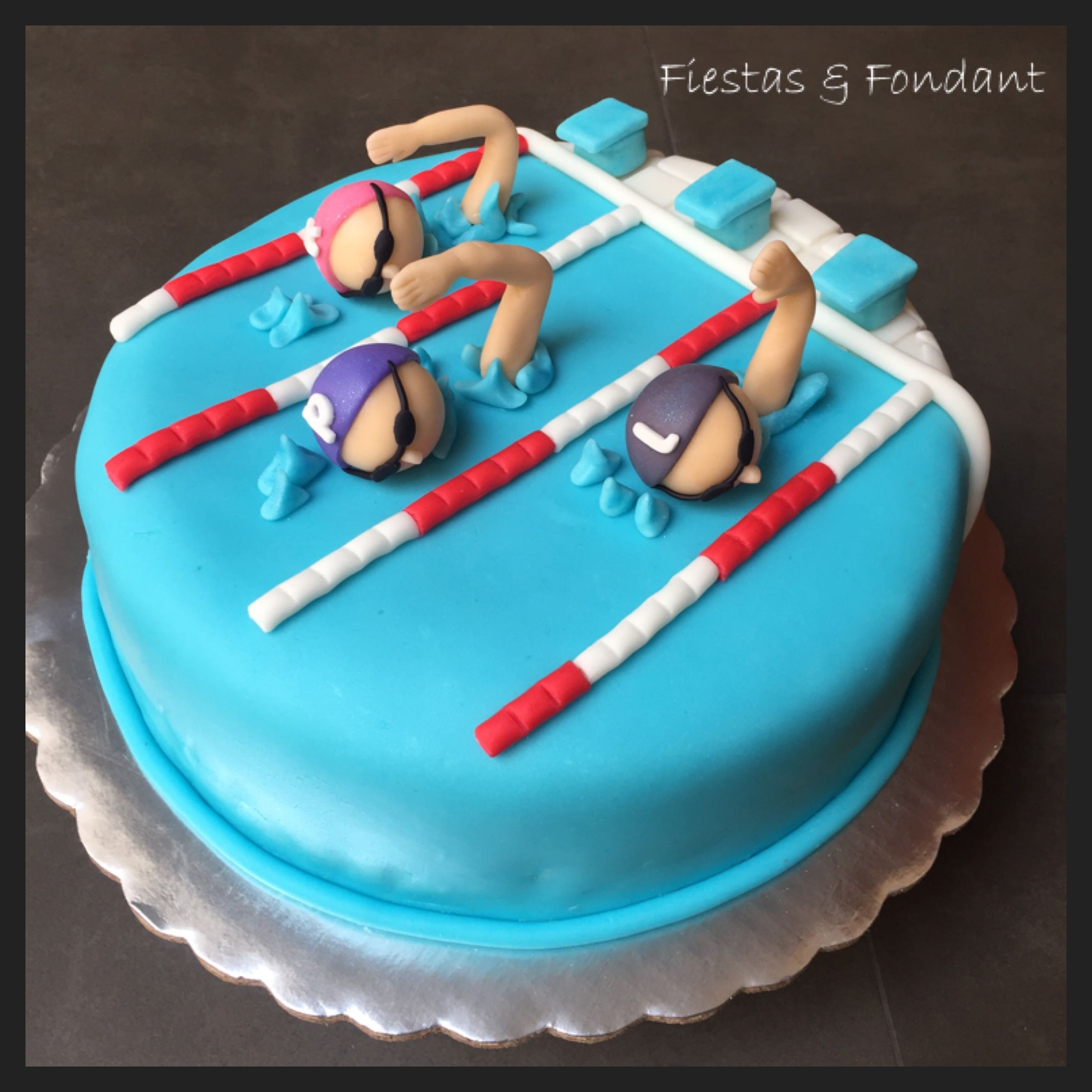 Swim cake by fiestas fondant cakes pinterest swim cake fiestas and swimming for Swimming pool birthday cake pictures