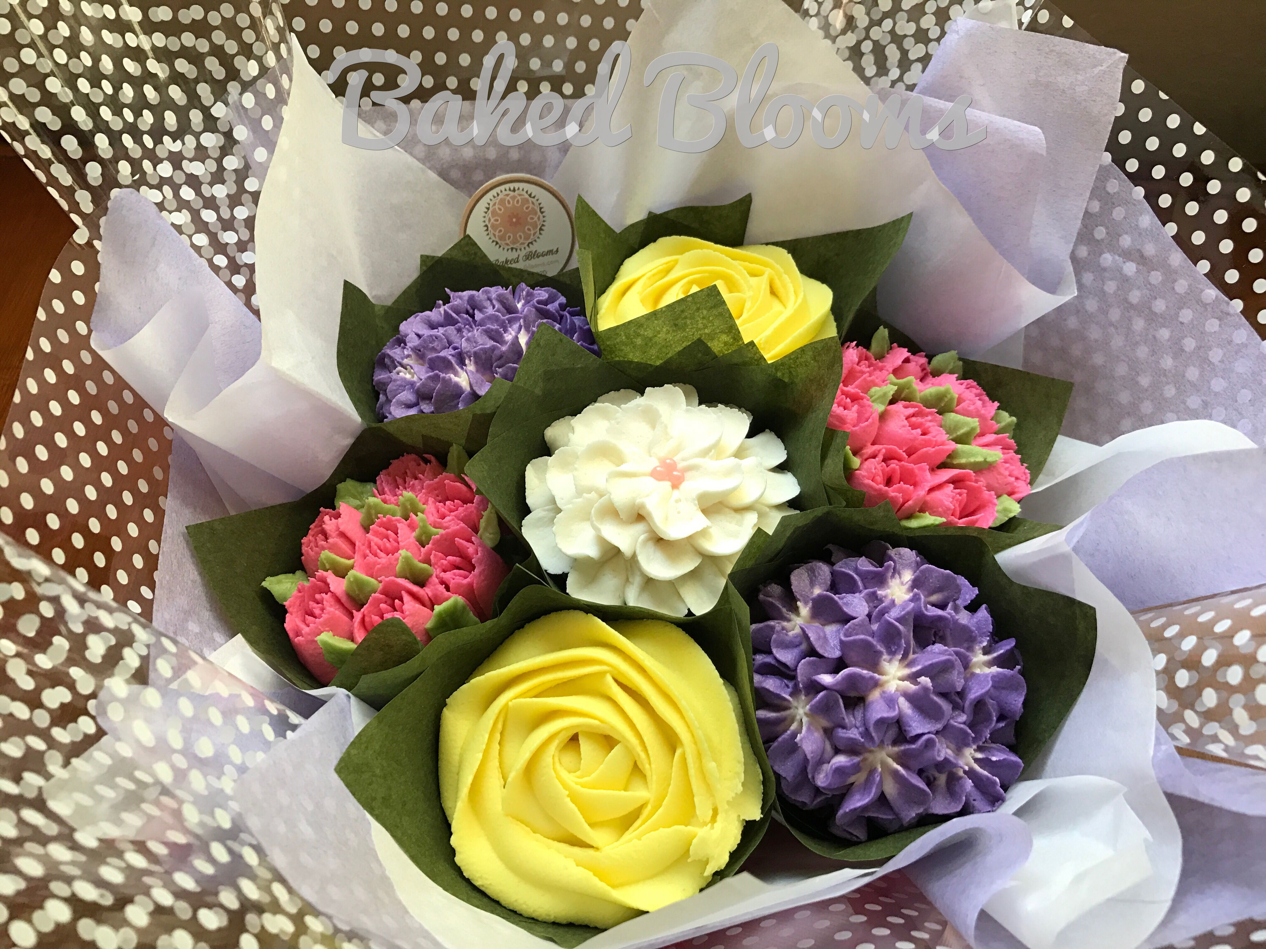 Purple Yellow And Pink Bouquet Bakedblooms Baked Blooms