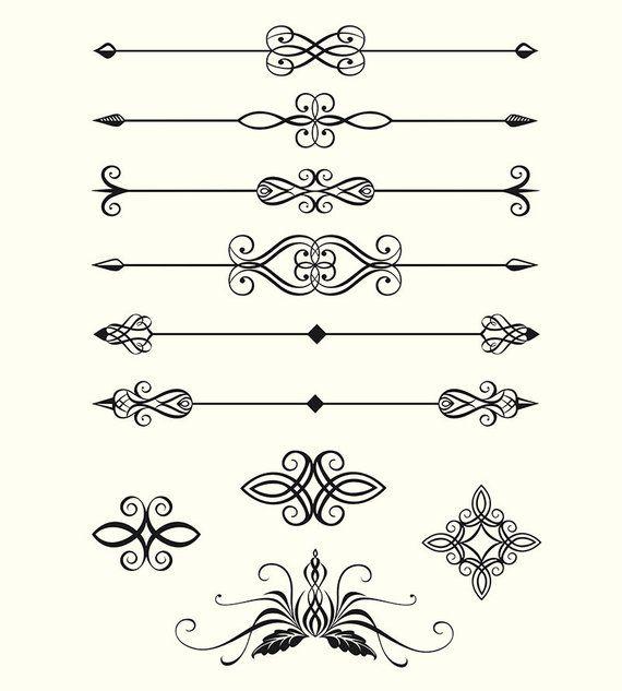 digital clipart pack line dividers calligraphic decorative design