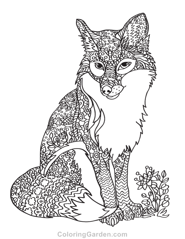 Free printable fox adult coloring page. Download it in PDF format ...
