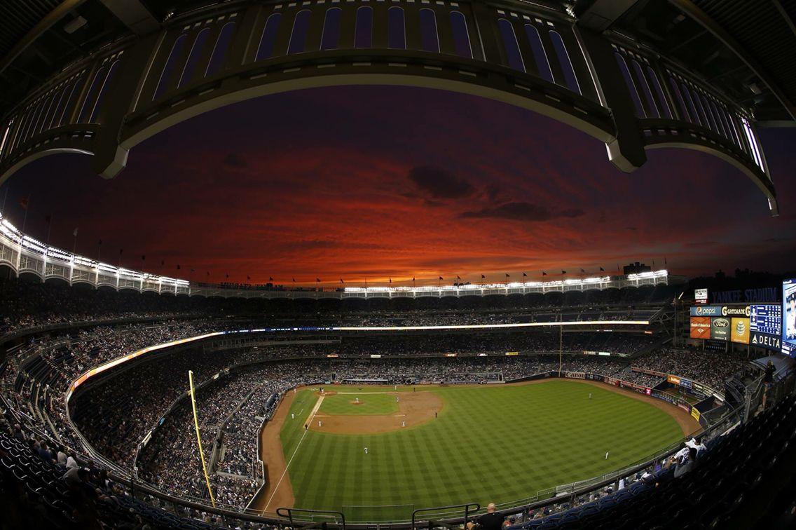 Sunset Over Yankee Stadium Bronx Ny Yankee Stadium New York Yankees Yankees