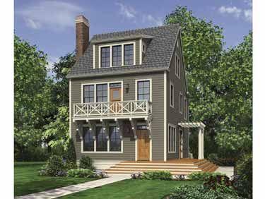 Three-Level Urban-Infill Design (HWBDO67354) | Colonial House Plan ...