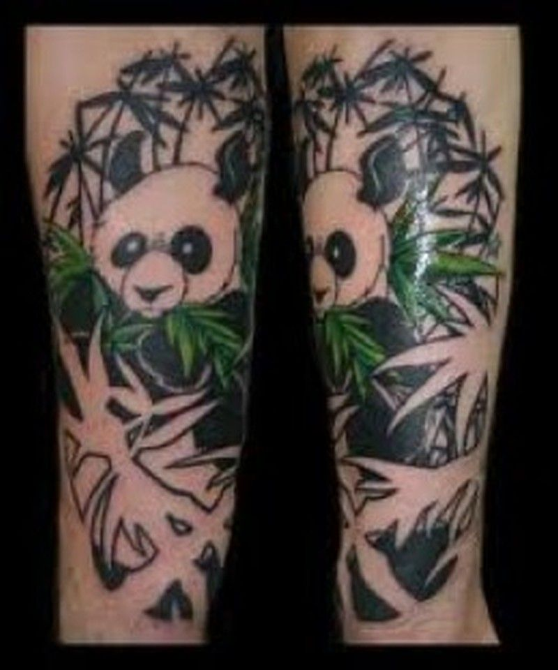 Amazing Panda With Bamboo Trees Tattoo On Forearm Tattoos