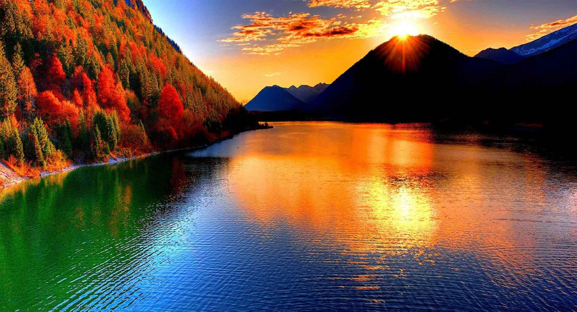 beautiful mountain sunset clouds sunrise sunset nature