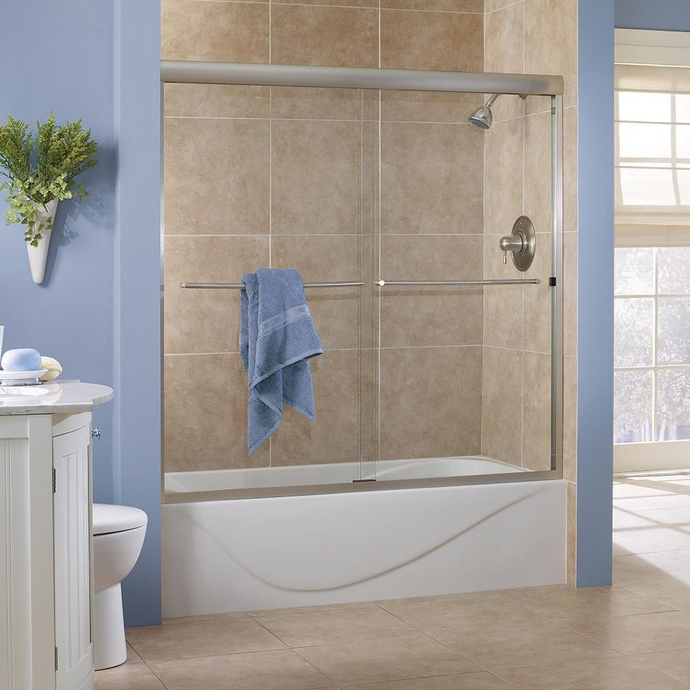 Foremost Cove 60 In X 60 In Semi Framed Sliding Bathtub Door In Brushed Nickel With 1 4 In Clear Glass Cvst6060 Cl Bn Bathtub Doors Framed Shower Door Clear Glass