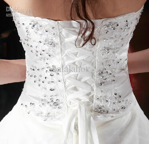 modest white strapless tulle crystal corset The Corset Back Wedding ...