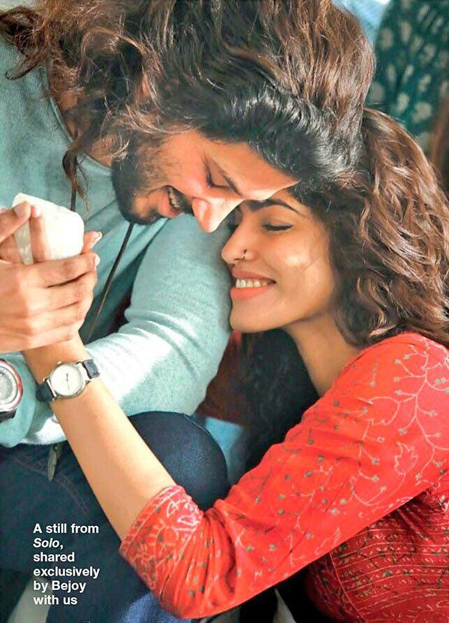 Still Of Dulquer With Sai Dhanshika From The Set Of Solo Dulquer
