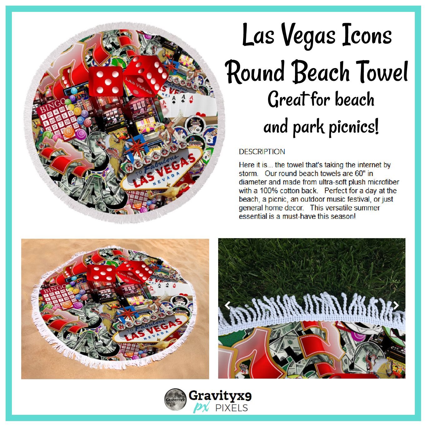 Las Vegas Icons Round Beach Towel For