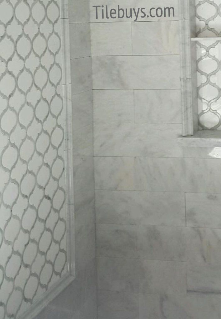 Marrakech Waterjet Mosaic Arabesque Carrara White Thos Marble