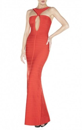 $240.00 A confident cutout comes center front in this long, hot red dress. Round neck. Sleeveless.Triangular halter embellishment at neckline. Cutout at center bodice.Allover bandage applique. Slit at back.Concealed center back zipper with hook-and-eye closure.To maintain the beauty of your garment, please follow the care instructions on the attached label.Imported.