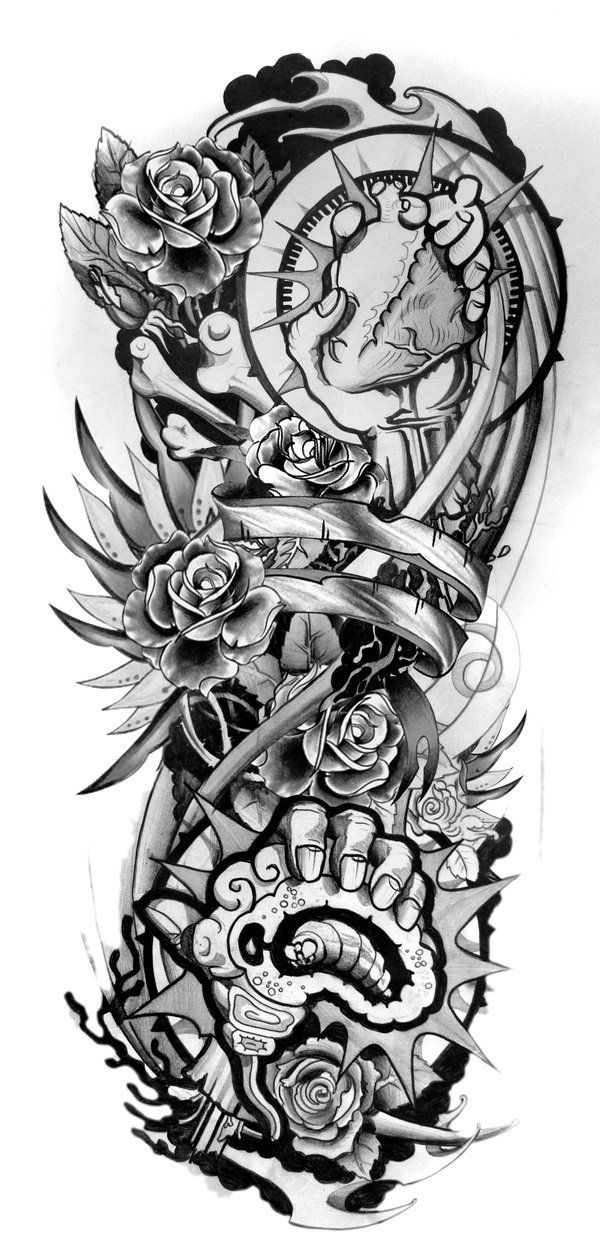 abe8a9f38 Sleeve Tattoo Designs Drawings On Paper Design Sleeve Tattoo 2 ...