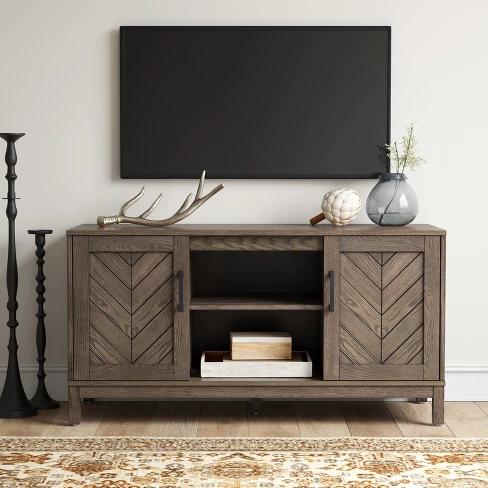 Eastford V Pattern Tv Stand Brown Threshold Living Room Tv