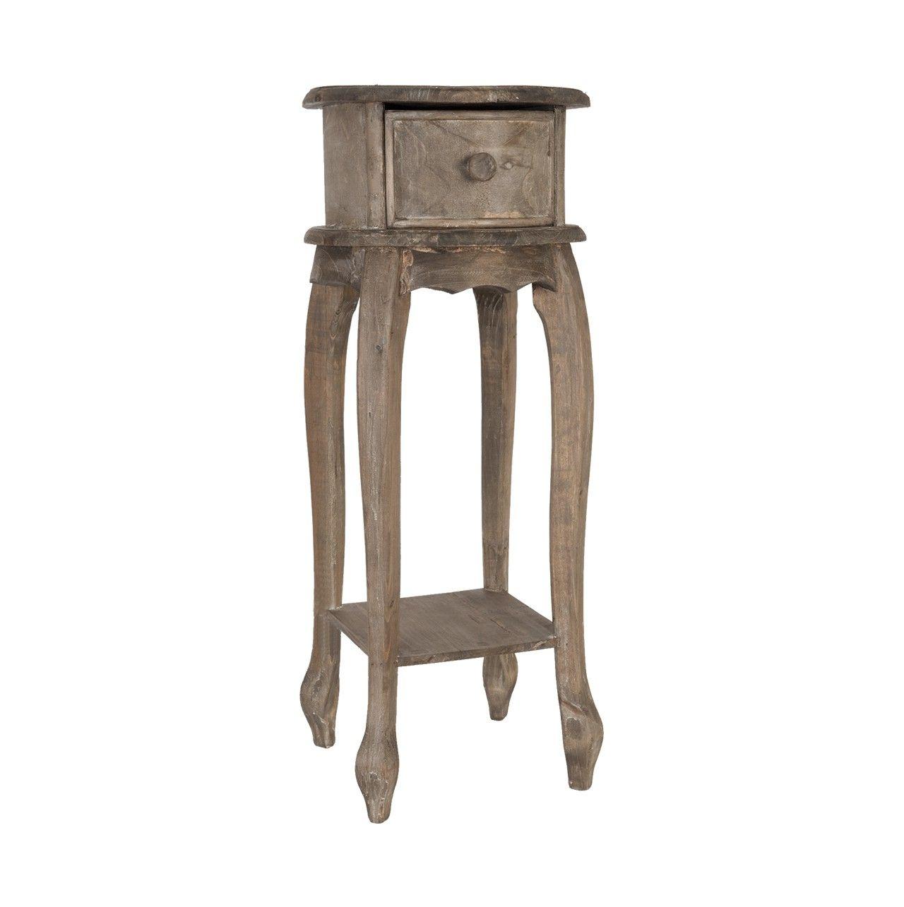 Mesa auxiliar alta color #marrón, con cajón y balda fabricada en ...