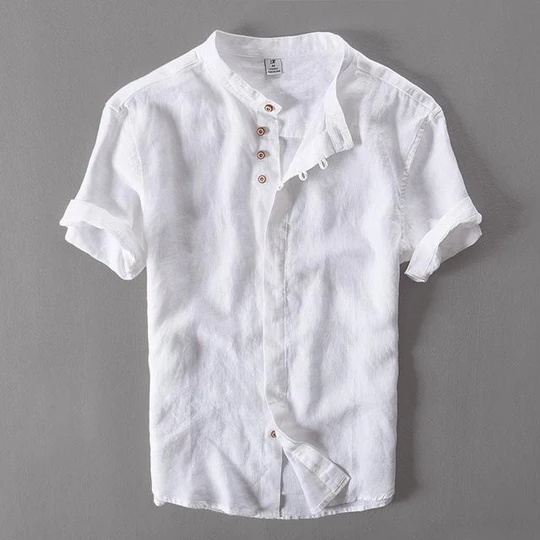 Wmshuo 2018 Summer Short Sleeve Men 100 Linen Shirt Slim Thin Section Casualliligla With Images Short Sleeve Linen Shirt