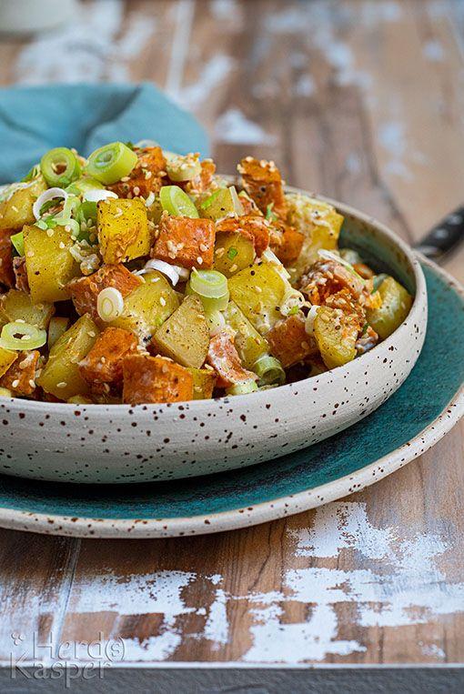 Töften satt: Kartoffelsalat mit Süßkartoffeln - Herd(s ...