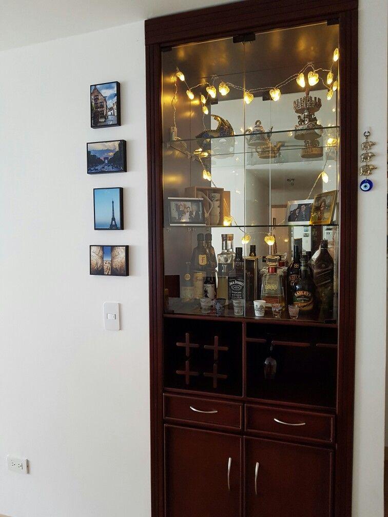 Bar madera repisas vidrio a medida decoraci n vinera sala muebles decoraci n para - Muebles de vidrio ...