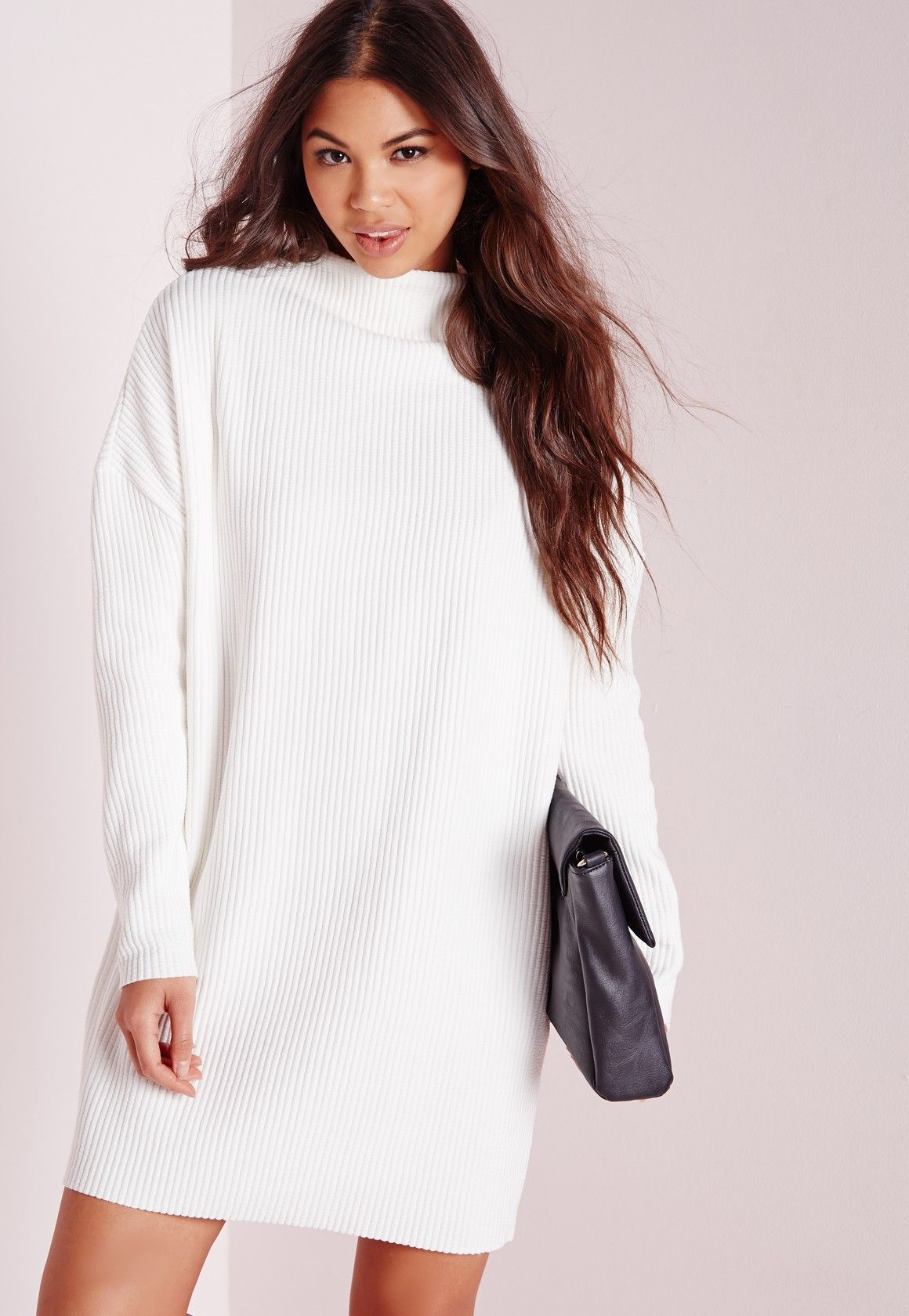 28 High Neck Slouchy Rib Sweater Dress Ivory - Dresses - day ...