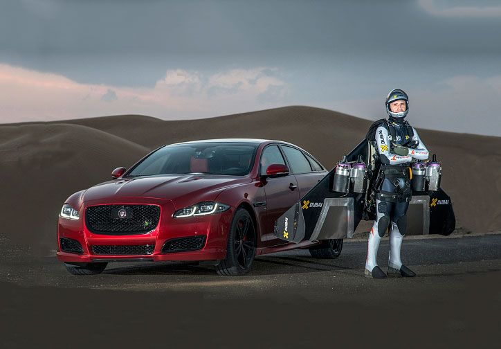 Watch Martin Brundle In A Jaguar XJR Race A Man In A Jetpack. Four Jet  Engines.
