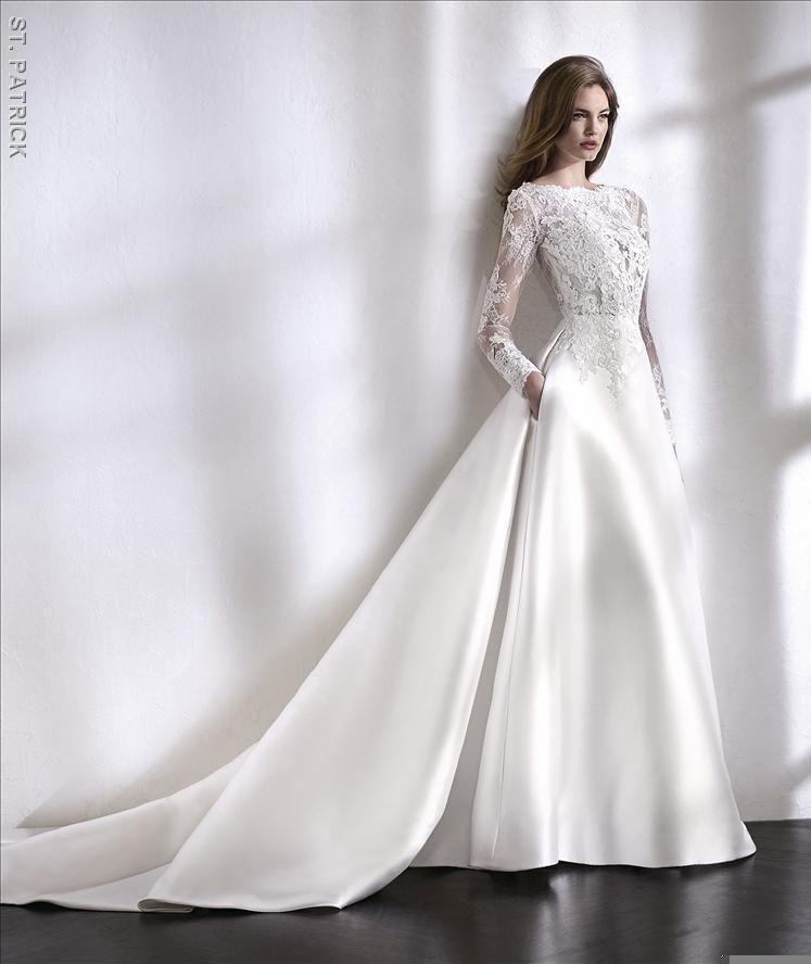 San Patrick Wedding Dress Trouwjurk Bruidsjurk Wedding Bruiloft Bruid Romantisch Open Rug Prinsessen Lace Bride Ivoor Bruidsmode Bruids Trouwjurken Trouwjurk