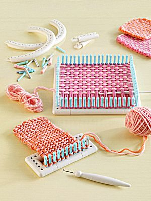 Martha Stewart Crafts Lion Brand Yarn Knit.  Wow...remember the old looms with the little stretchy loops you would weave through them:)