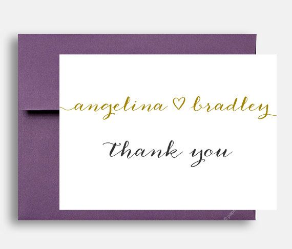 5x7 thank you wedding cards gold custom personalized 5x7 thank you