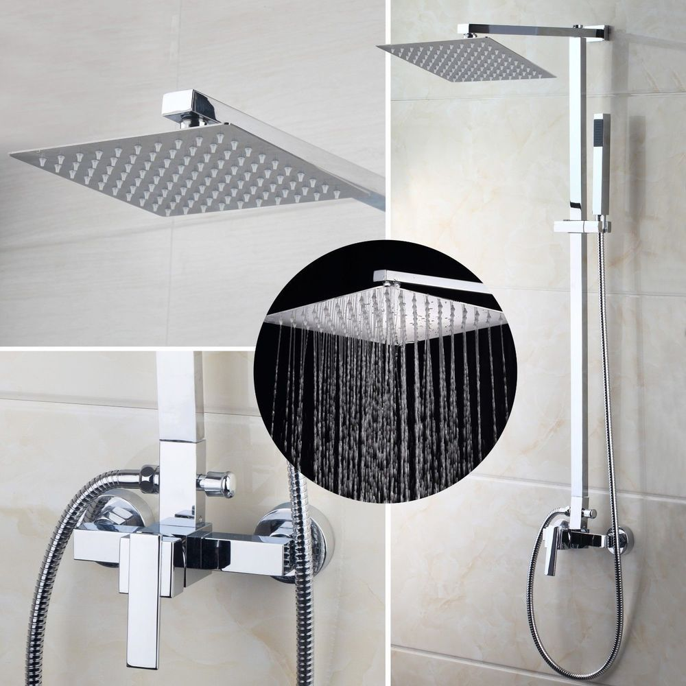 US Bathroom Chrome Rain 8\'\' Shower Head Arm Set Faucet Valve ...