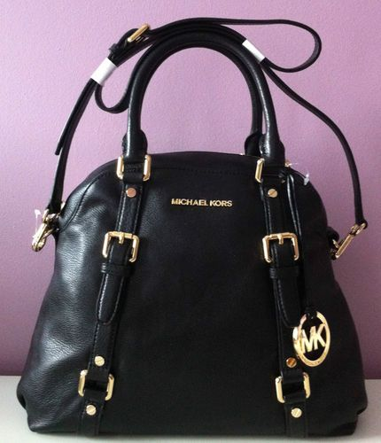 $398 Michael Kors Bedford Black Leather Large Bowling Satchel Crossbody Bag