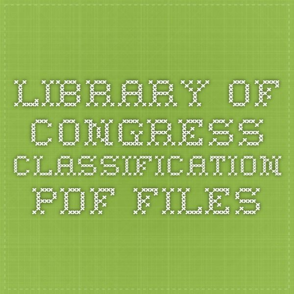 Library Of Congress Classification PDF Files