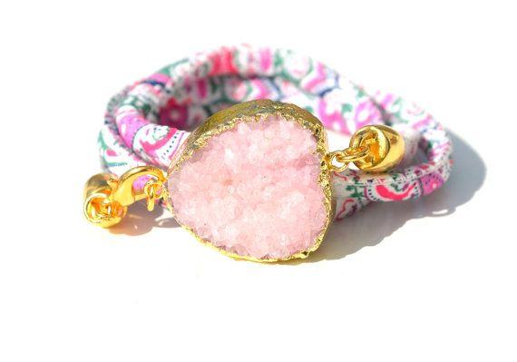 Pink druzy bracelet Floral cotton wrap gemstone by Schalrausch