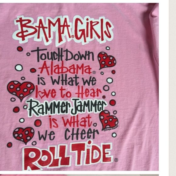 Alabama Pink Bama Girls T-Shirt Size L See Below Made by Anvil Chest 36 C.  Priced To Sell, NO PP/Trades, Thanks For Looking! There's one spot on the shirt, not the arm pit but below it. Barely noticeable, I have it pictured & price adjusted. Anvil Tops Tees - Short Sleeve