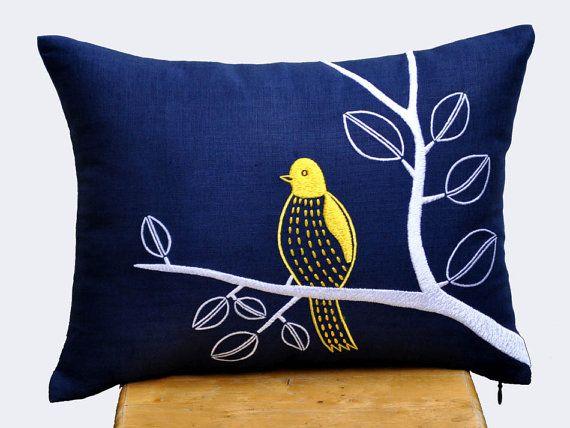 blue linen pillows