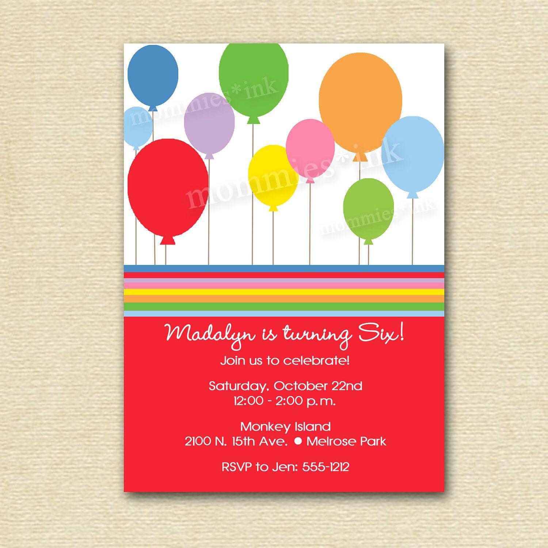 Beautiful Balloon Birthday Invitations Sketch - Resume Ideas ...