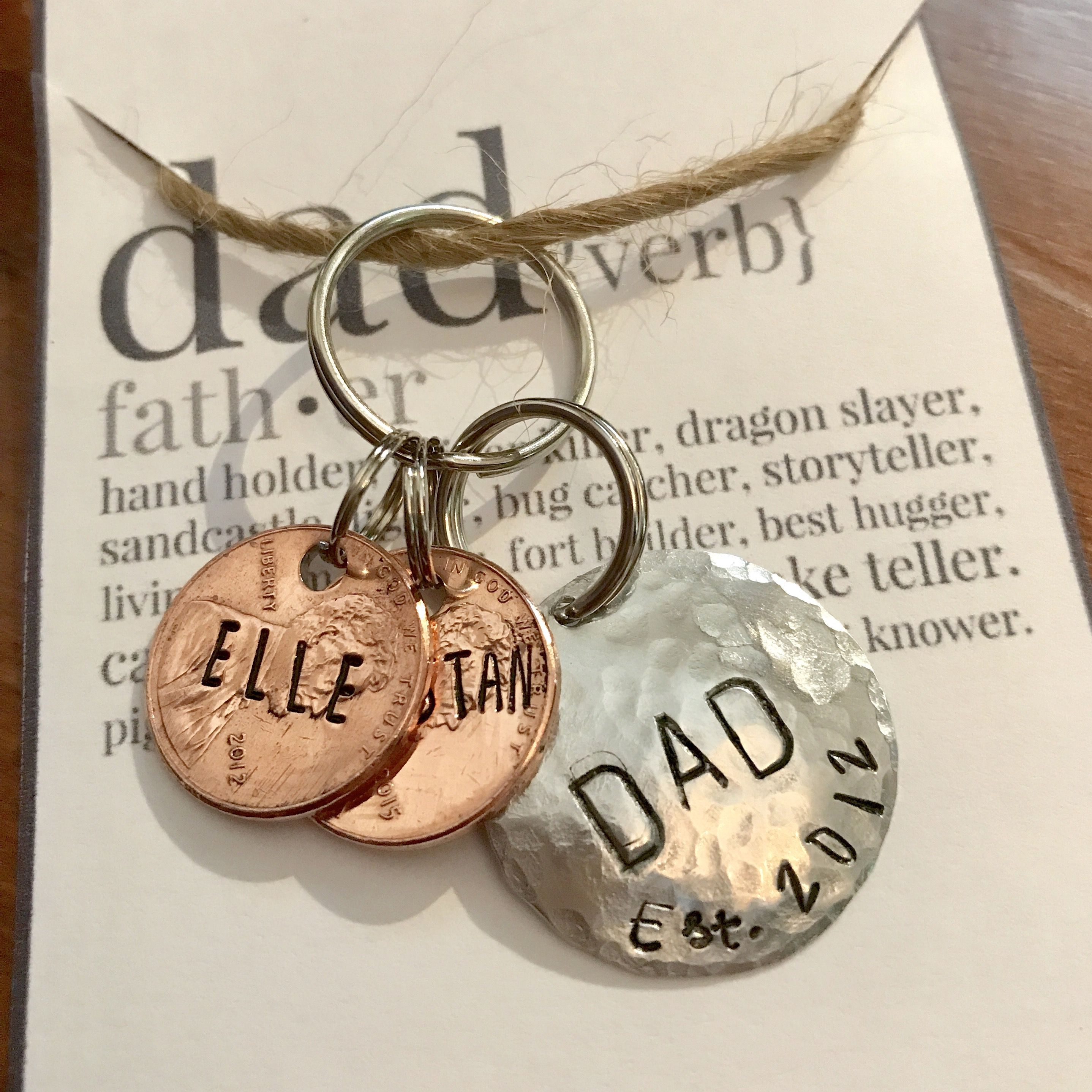 Fathers day keychain penny keychain gifts for dad step