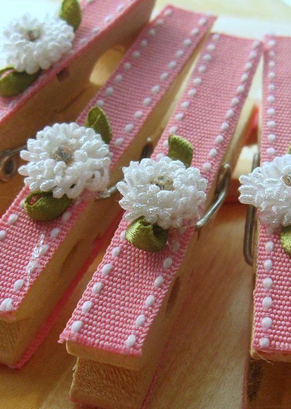 Last Set Designer clothespins set of 10 baby pink von Artesenias