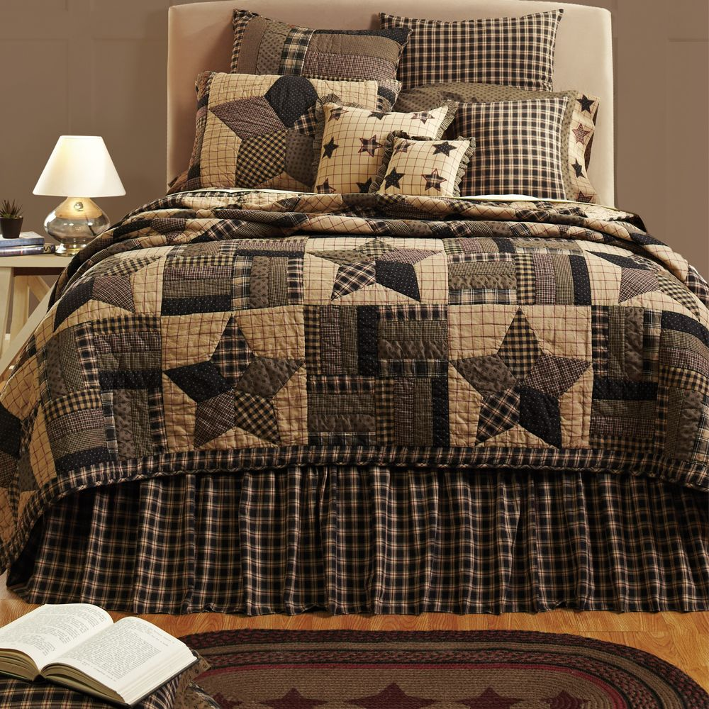 Country Black Primitive Star Twin Queen Cal King Cotton Quilt Bedding Bed Set | eBay