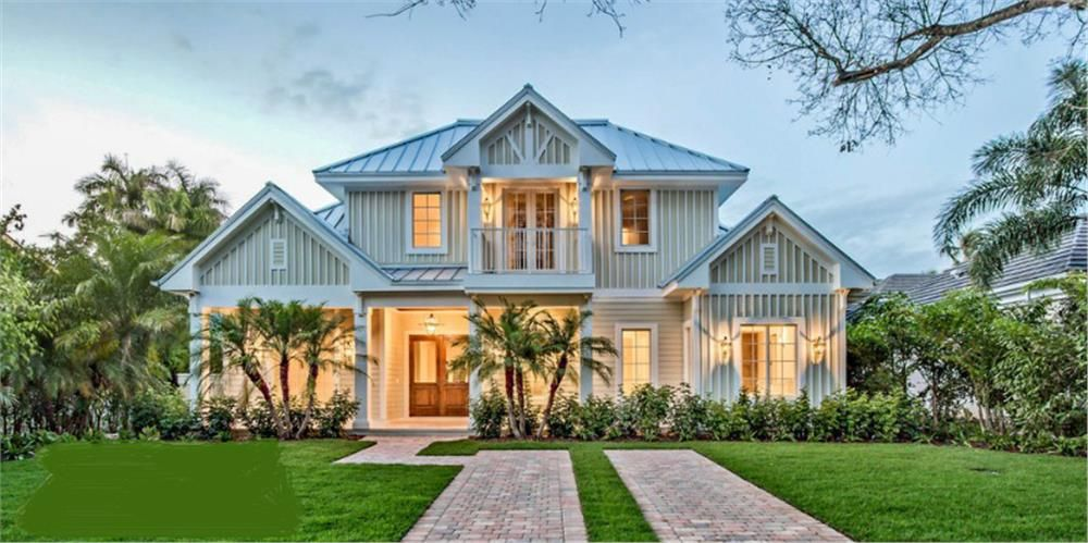 Front elevation of florida style home theplancollection for House plans for florida homes