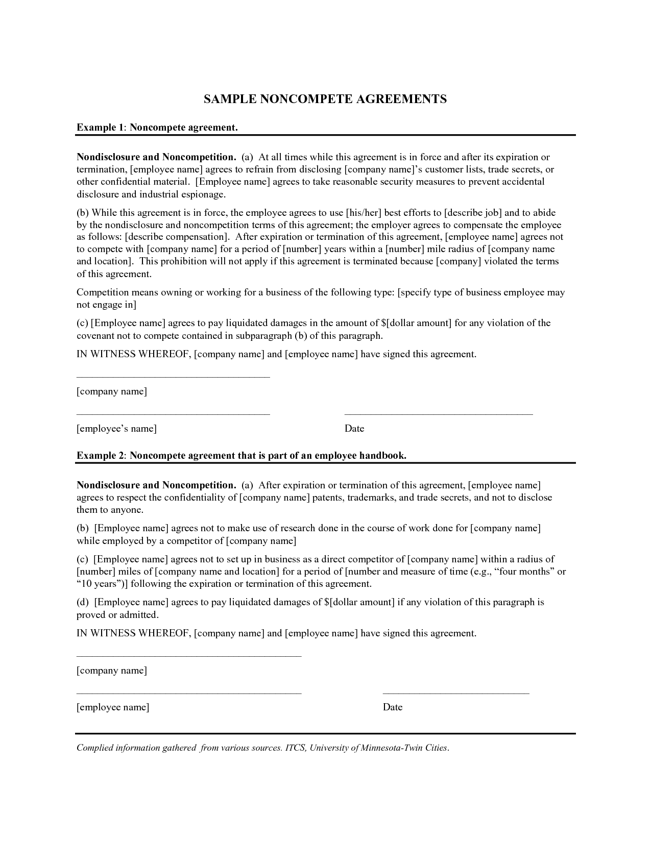 Non Compete Agreement Example Free Printable Documents Words Agreement Competing