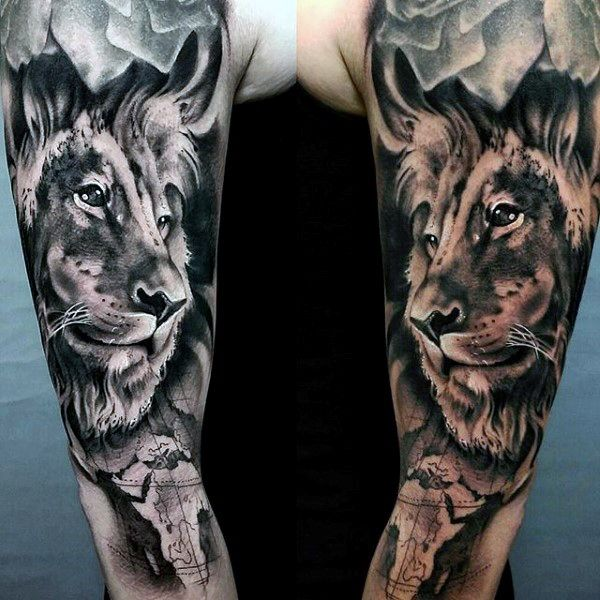 Top 63 Lion Sleeve Tattoo Ideas 2020 Inspiration Guide Lion Sleeve Full Sleeve Tattoo Design Tattoo Sleeve Designs