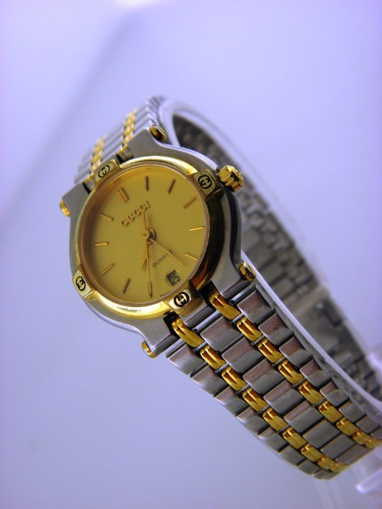 80f8810661d Gucci 9000 L Ladies Women s Quartz Two Tone Gold Dial Watch Swiss ...