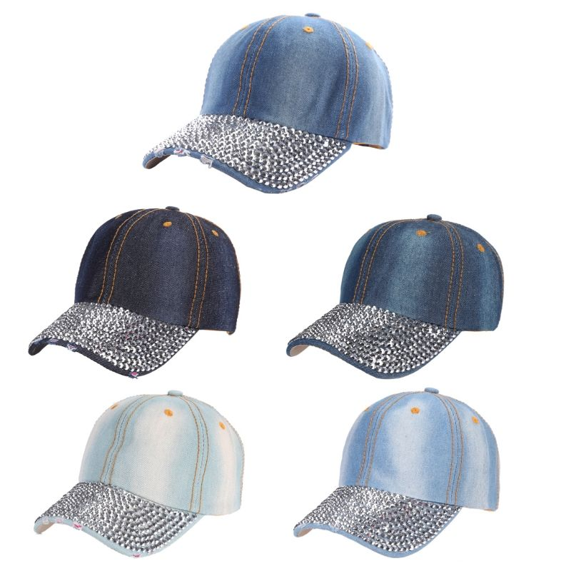 Fashion Rhinestones Studded Baseball Caps Adjustable Visor Denim ... 0558b4c75305
