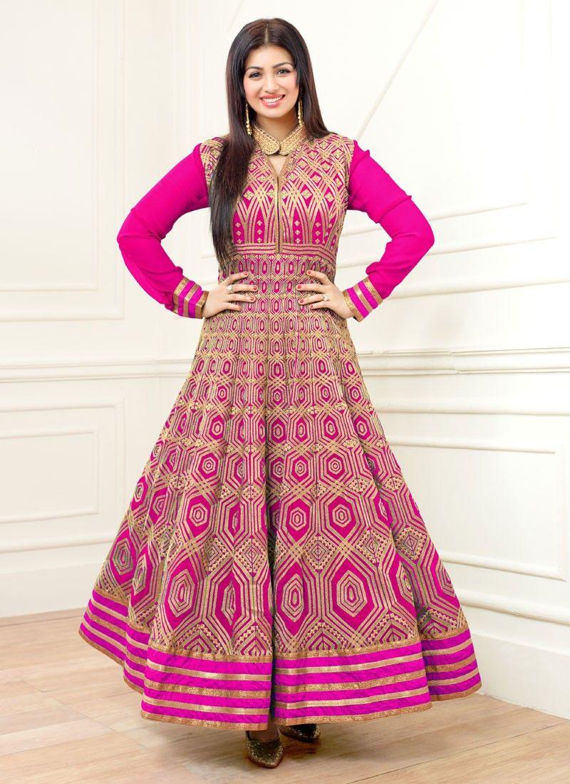 370be6b80a Ayesha Takia Pink Georgette Ankle Length Anarkali Suit | Anarkali ...