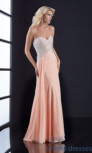 Long Strapless Sweetheart Dress by Jasz at SimplyDresses.com