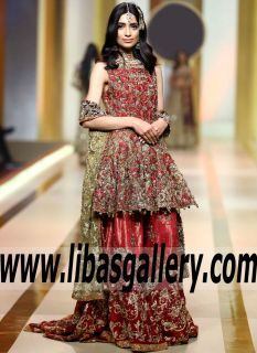 f85e185ec56 Admirable Arum Bridal Farshi Gharara features Exquisite and Superb  Embellishments for Wedding and Special Occasions -