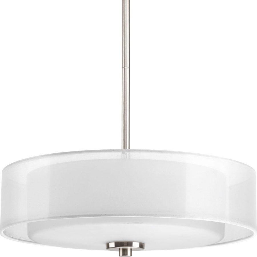 Progress Lighting Invite 15-In W Brushed Nickel Fabric Semi-Flush ...