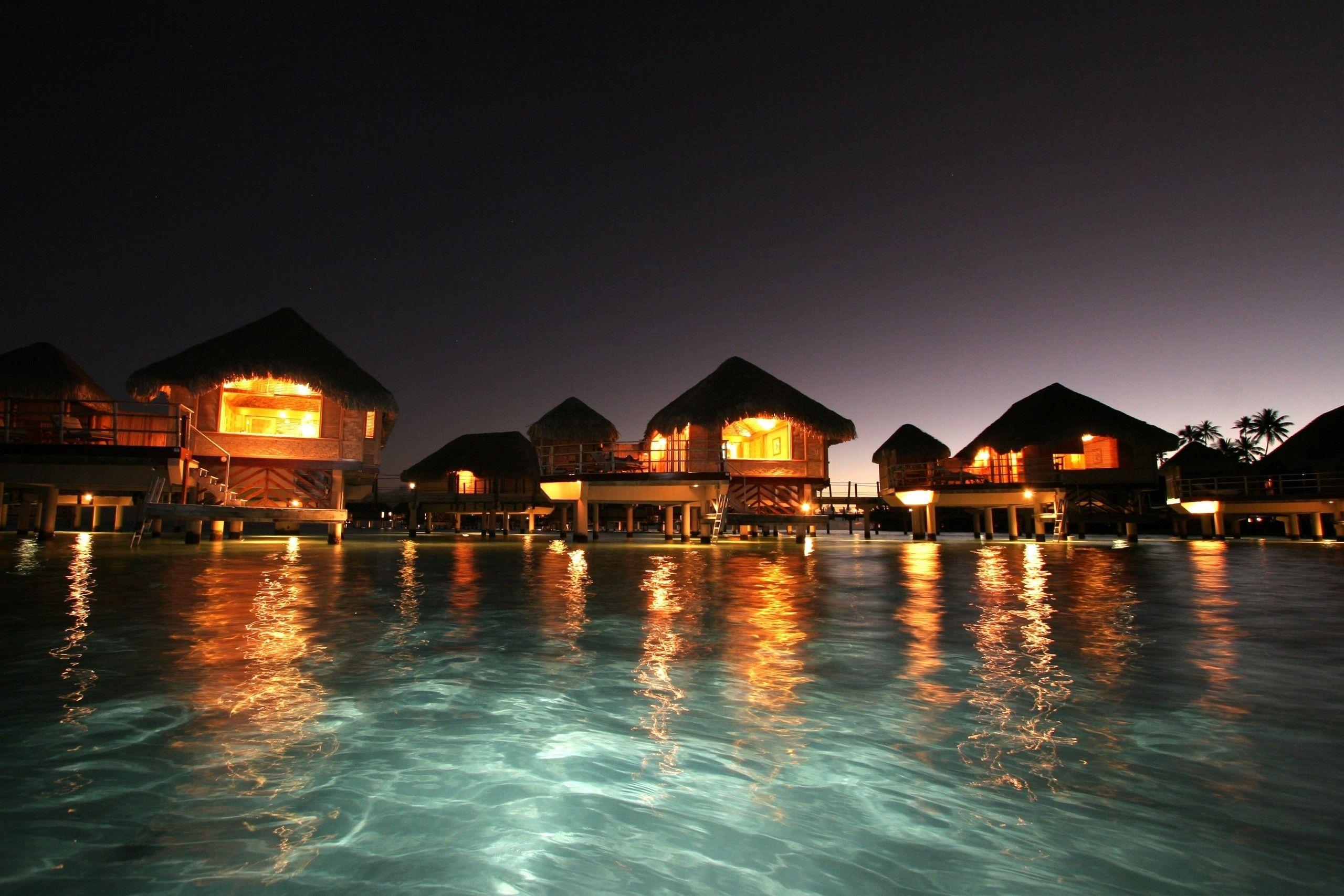 Maldives Ocean Night Ozean Nacht Malediven Wallpaper Allwallpaper In 14814 Maldives Wallpaper Island Resort Ocean At Night