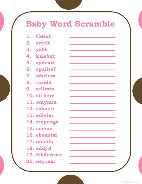 13 Free Bridal Word Scramble Game For You Baby Shower
