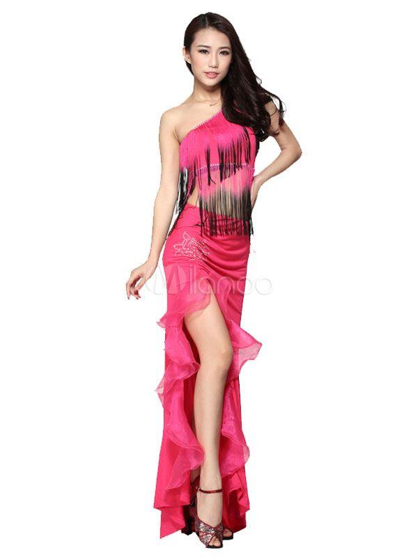 One-Shoulder-Tanz Kleid Frauen zweifarbige hohe Split Quaste Tanz ...
